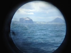 Bass Rock and a flight of gannets, Firth of Forth